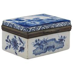 Antique Dutch Delft De Lampetkan Lidded Blue and White Box Signed, circa 1759