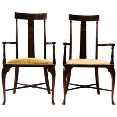 Two Arts & Crafts Armchairs inlaid with Abalone, Walnut, Boxwood & Sycamore