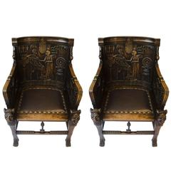 Pair of Egyptian Revival Armchairs 'Tutankhamun'