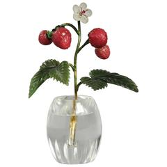 Early 20th Century Russian Faberge-Style Carved Sprig of Wild Strawberries