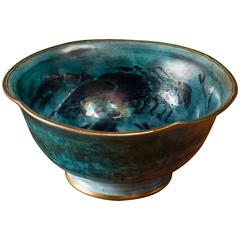 Josef Ekberg Large Lustreware Ceramic Bowl for Gustavsberg, Sweden, 1929