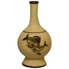 Large B&G 'Bing & Grondahl' Craquele Vase with Fish