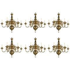 Set of Six Gilt Bronze Chandeliers