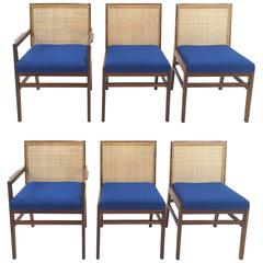 Milo Baughman Cane and Walnut Dining Chairs for Arch Gordon