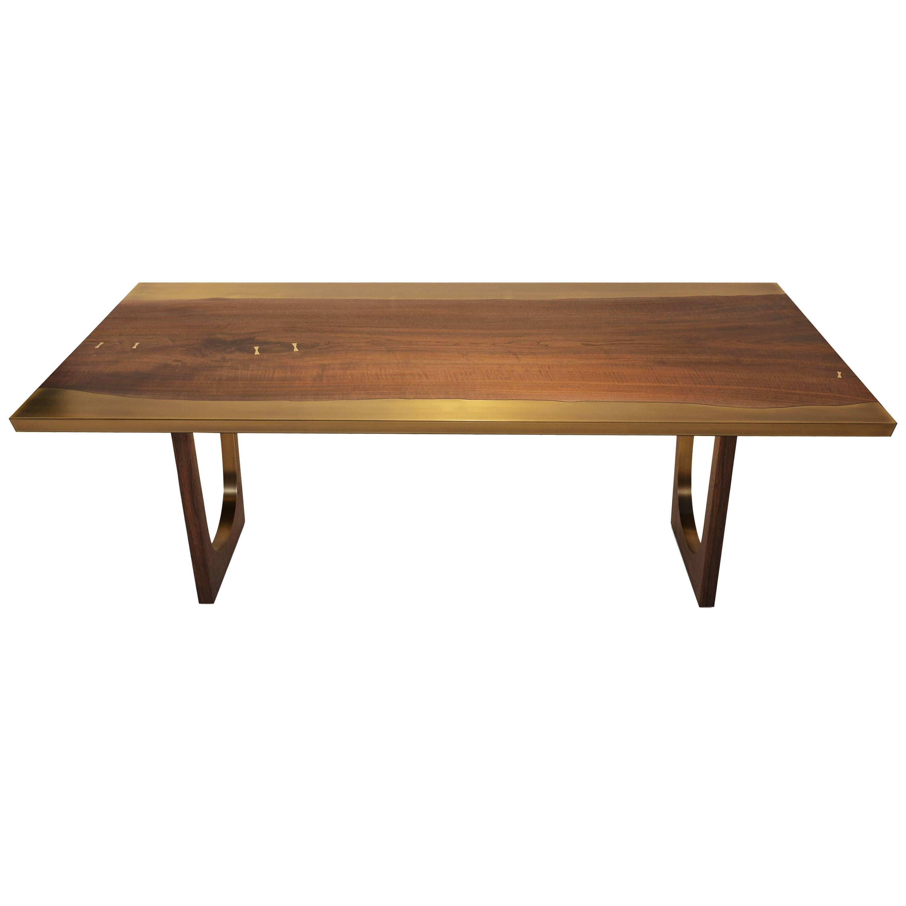 Nola Dining Table with Walnut and Bronze - Customizable Wood, Metal and Resin