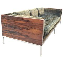 Milo Baughman Rosewood Case Sofa in Original Jack Lenor Larsen Velour
