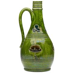 Antique Art Pottery Green Ewer Probably Belgian, circa 1890