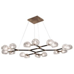Light Glass Suspension with Lacquered Brass and Crackle Glass