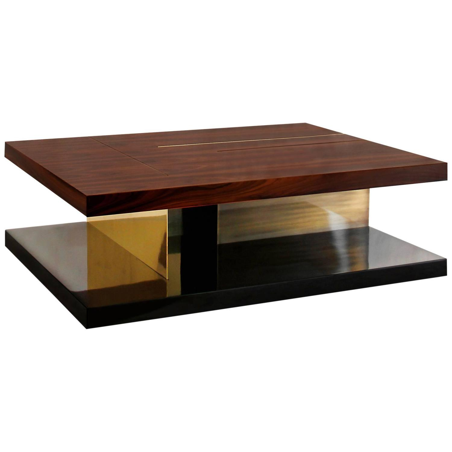 chloe coffee table with high glossy lacquer veneer wood and brass for sale at 1stdibs