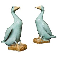 Pair of Chinese Celadon-Glazed Porcelain Ducks