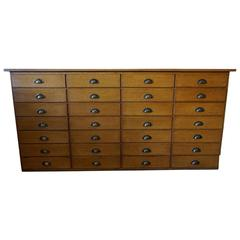 Vintage French Oak Apothecary Bank of Drawers, 1950s