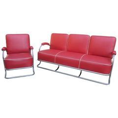 1930s Tubular Chrome Sofa and Chair