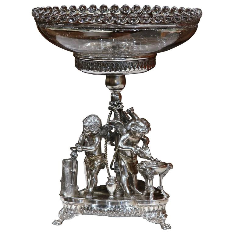 19th Century French Silver Plated Crystal Bowl Centerpiece With Cherub Figures For