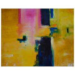 """Rebecca Ruoff , """"Sunny Day"""", Large Yellow Contemporary Abstract Painting, 2015"""