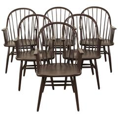 Set of Six-Painted Windsor Style Spindle Back Dining Chairs