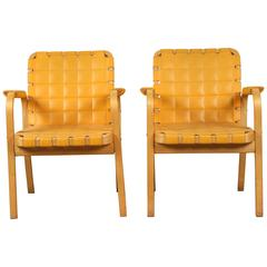 Pair of Quilted Leather and Bentwood Armchairs from Finland