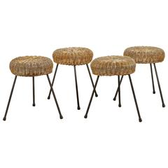 Wicker and Iron Three Legged Stool