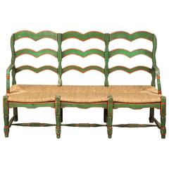 Green and Red Painted Mexican Bench with Rush Seat