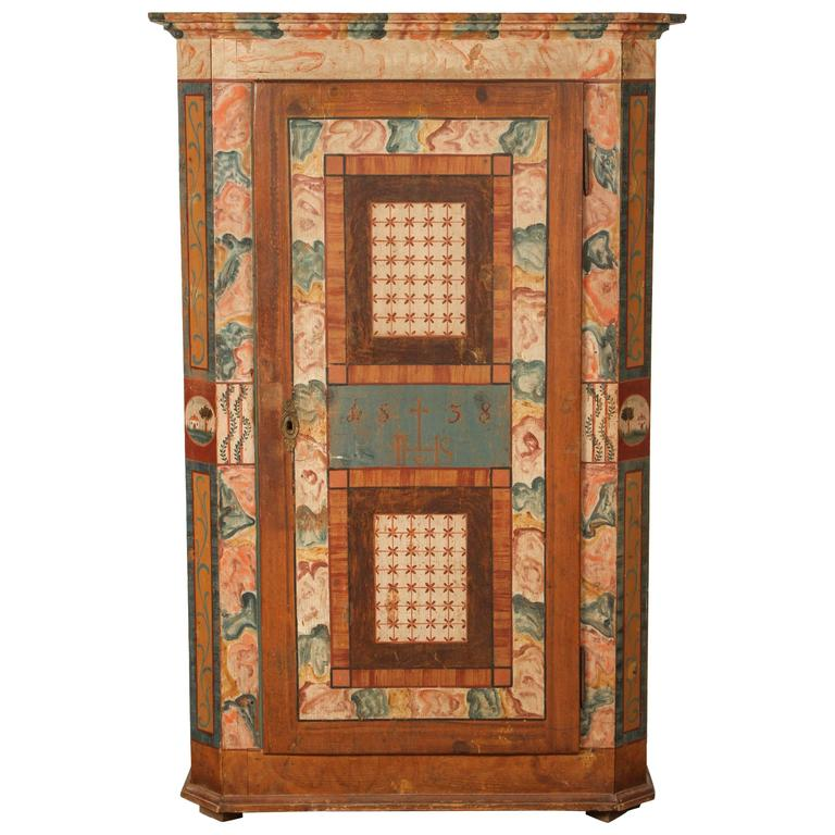 Folk Style Hand-Painted Cabinet  1