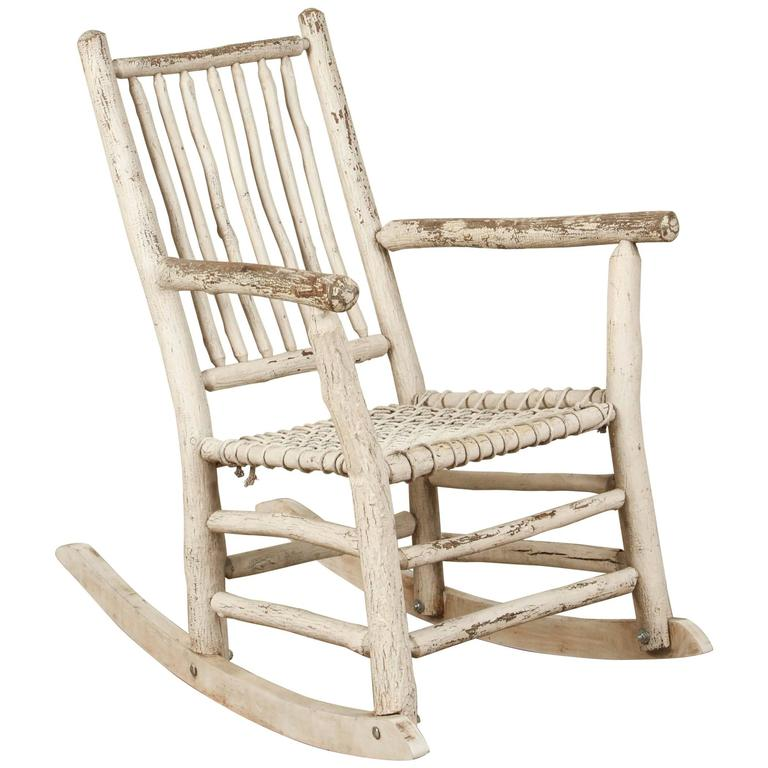 White Painted Rustic Rocking Chair At 1stdibs