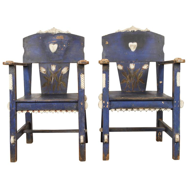 Mexican Blue Painted Chairs With Tuilips For Sale At 1stdibs
