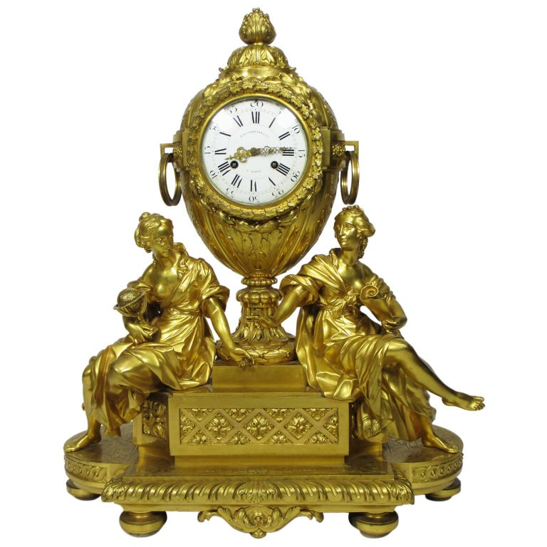 19th Century Louis XVI Style Gilt-Bronze Mantel Clock by Fedinand Barbedienne For Sale