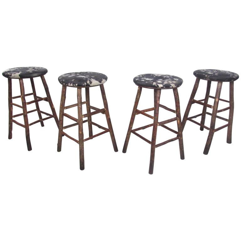 Set Of Four Vintage Rustic Bar Stools By Old Hickory For