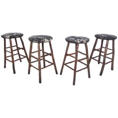 Set of Four Vintage Rustic Bar Stools by Old Hickory