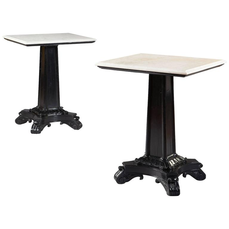 Pair of Ebonized Pedestal Tables with Marble Tops