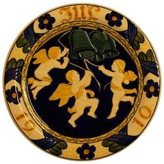 Large Aluminia Christmas Plate in Faience, 1910