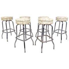 Set of Six Mid-Century Modern Chrome and Vinyl Swivel Barstools