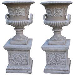 Pair of Heavy Composite Stone Garden Urns on Pedestals