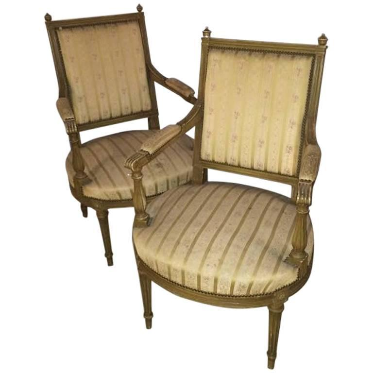 Pair of Louis XVI Style Armchairs Fauteuils Stamped Jansen