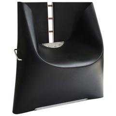 Henner Kuckuck Black Rubber and Metal Chair, circa 1990