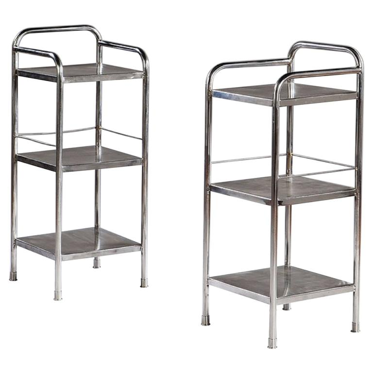 Pair of Mid-Century Polished Steel Side Tables or Etageres