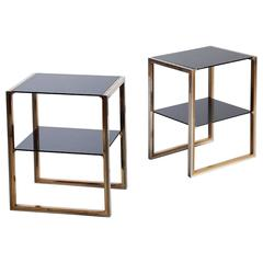 Pair of Mid-Century Chrome and Polished Brass Willy Rizzo Tables