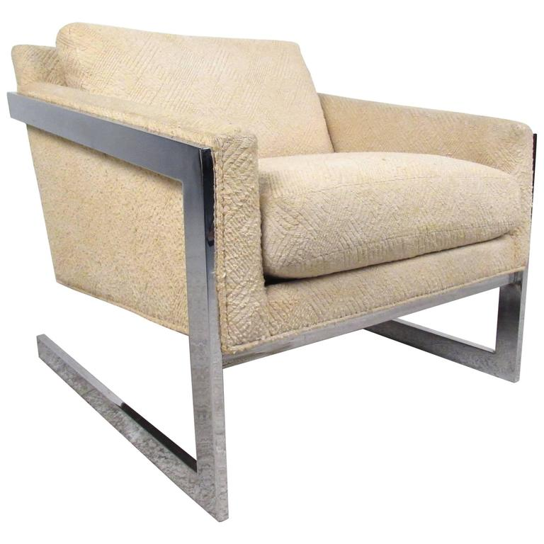 Mid-Century Lounge Chair in the Style of Milo Baughman