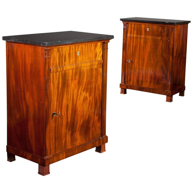 Pair of French Empire Mahogany Side Cabinets
