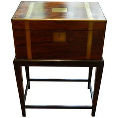 English Rosewood Bound in Brass Lap Desk on a Custom-Made Stand, circa 1830
