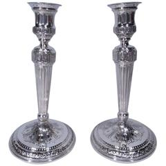 Pair of Tiffany Neoclassical Sterling Silver Candlesticks