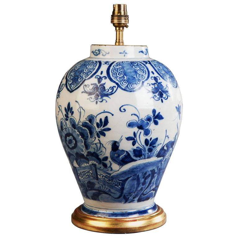 18th Century Dutch Delft Blue And White Vase As A Lamp For Sale At