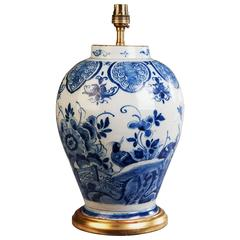 18th Century Dutch Delft Pottery Vase Mounted as Lamp