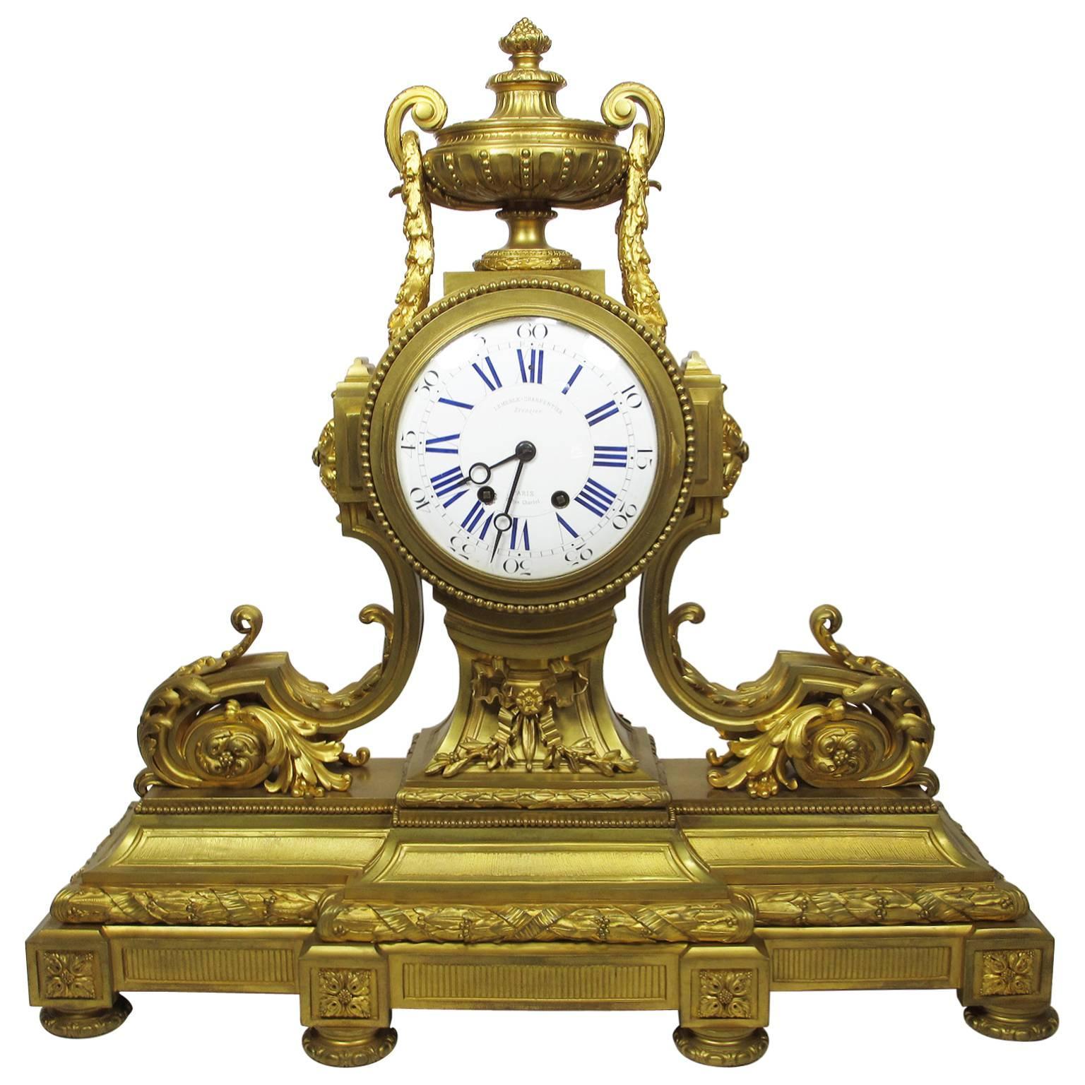 19th Century Louis XVI Style Gilt Bronze Mantel Clock by Lemerle Charpentier