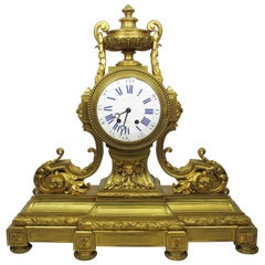 19th Century Louis XVI Style Gilt Bronze Mantel Clock by Lemerle Charpentier