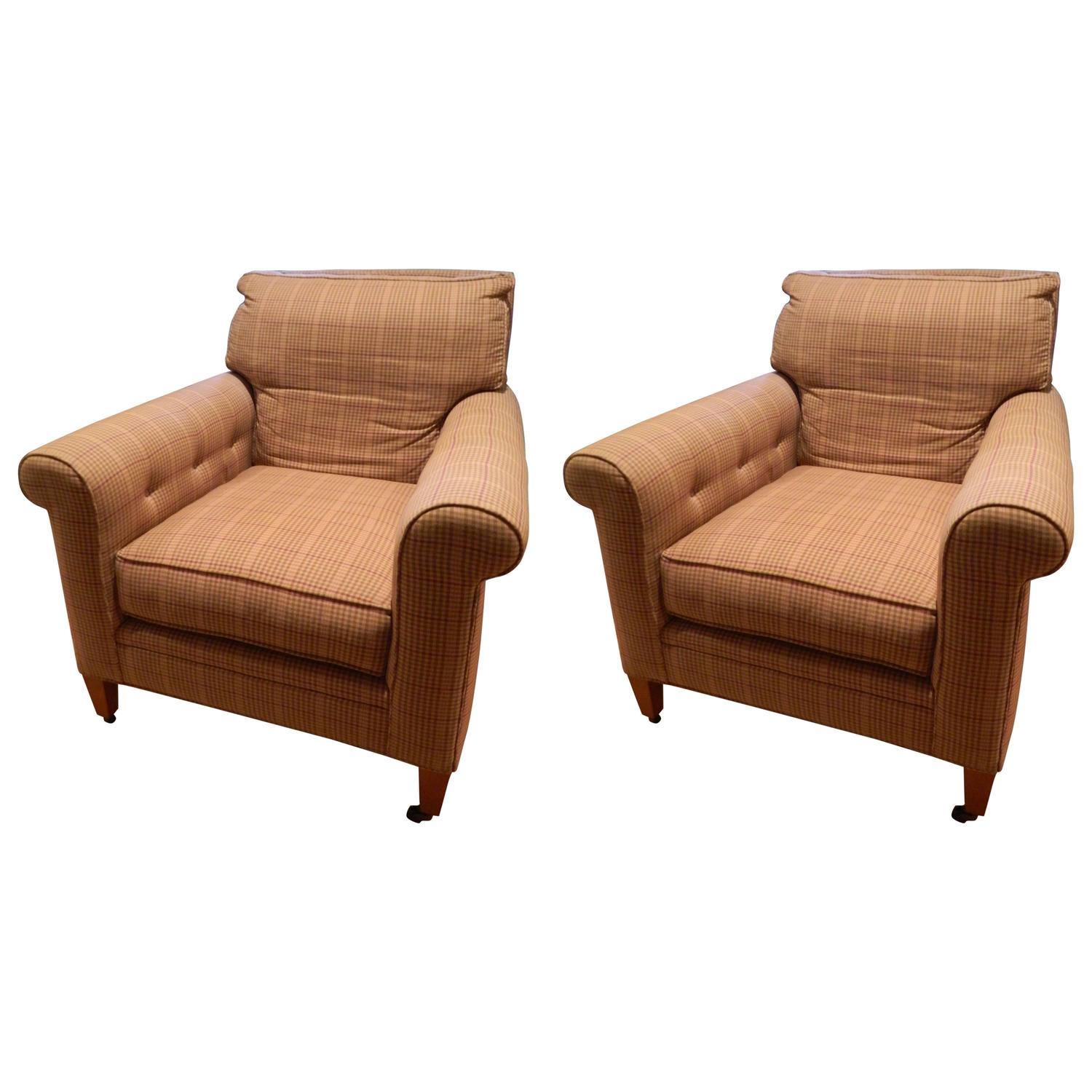 Ralph Lauren Furniture Sale: Ralph Lauren Pair Of Upholstered Chairs On Casters, 20th
