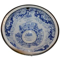 Antique 19th Century Commode Blue and White R.Wiss, London Ceramic Bowl
