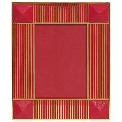 "Pyramid Red Shagreen Gold-Plated Photo Frame for 5"" x 7"" by Fabio Ltd"
