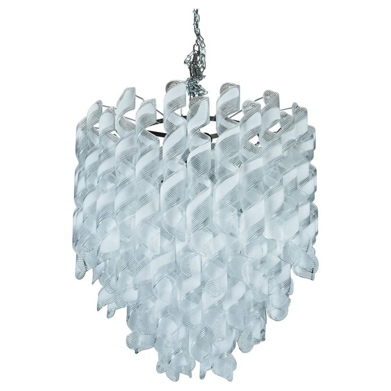 Italian bellissima white glass swirl chandelier for sale for Bellissima jewelry moschitto designs