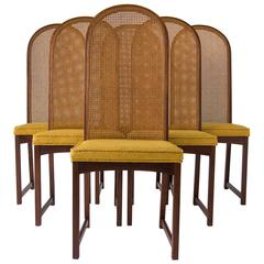 Set of Six High-Backed Cane Dining Chairs by Milo Baughman