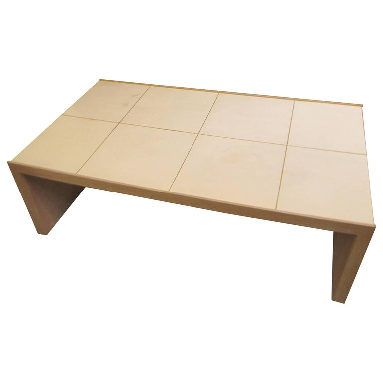 Oversized Cerused Oak And Brass Inlaid Coffee Table For